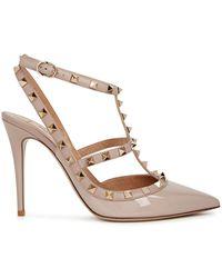 Valentino Garavani Rockstud 100 Blush Patent Leather Court Shoes - Natural