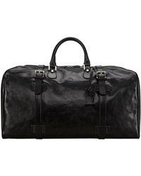 Maxwell Scott Bags Maxwell Scott Real Leather Extra Large Luggage Bag - Fleroel Black