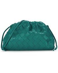 Bottega Veneta The Mini Pouch Intrecciato Teal Leather Clutch - Green