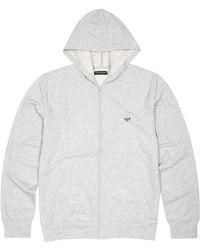 Emporio Armani - Grey Hooded Stretch Cotton Sweatshirt - Lyst