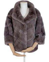 Popski London Rex Fur Jacket - Grey
