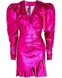 ROTATE BIRGER CHRISTENSEN Metallic Puff-sleeve Minidress - Pink