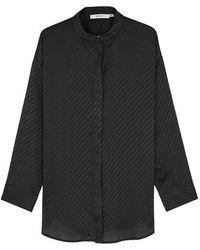 Gestuz - Gunilla Black Striped Satin Shirt - Lyst