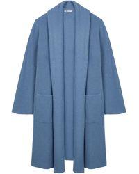 Johnstons of Elgin Shawl Collar Rib Long Cashmere Cardigan Wedgewood - Blue