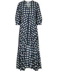 Victoria, Victoria Beckham Gingham-print Maxi Dress - Blue