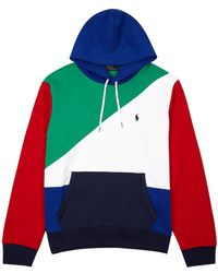 Polo Ralph Lauren - Colour-blocked Hooded Jersey Sweatshirt - Lyst