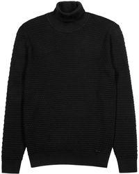 HUGO Smati Black Roll-neck Cotton Jumper
