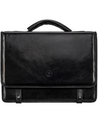 Maxwell Scott Bags Maxwell Scott Mens High Quality Leather Satchel Bag - Black