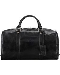 Maxwell Scott Bags Mens High Quality Black Leather Small Travel Bag