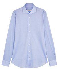 Cifonelli - Aspen Light Blue Piqué Cotton Shirt - Lyst