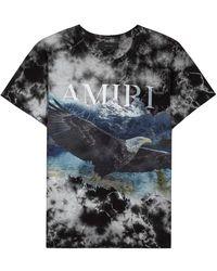 Amiri Eagle Tie-dye Printed Cotton T-shirt - Black