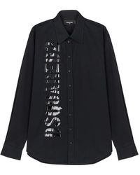 DSquared² - Black Logo-print Stretch-cotton Shirt - Lyst