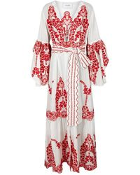 We Are Leone Off White Embroidered Cotton Maxi Jacket
