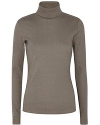 Gestuz Rolla Taupe Ribbed Stretch-cotton Top - Brown