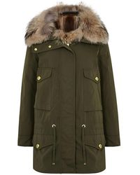 Moncler - Margarita Olive Shell Coat And Fur Gilet - Size 0 - Lyst