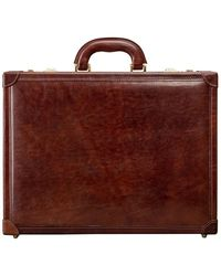 Maxwell Scott Bags Maxwell Scott Mens Italian Leather Attache Case - Brown