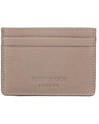 Esin Akan Grace Grainy Leather Card Case Beige - Natural
