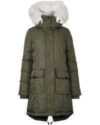 Pajar Grace Army Green Fur-trimmed Parka - Size L