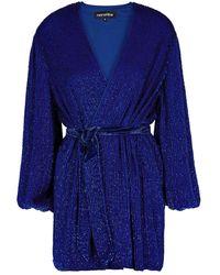 retroféte Gabrielle Blue Sequin Mini Wrap Dress