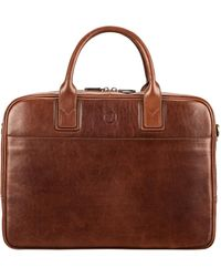 Maxwell Scott Bags Men S Tan Italian Leather Business Bag For Laptop - Brown