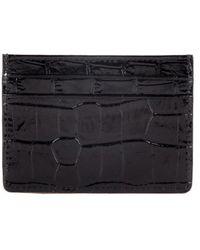 Esin Akan Grace Croc-embossed Leather Card Case Black