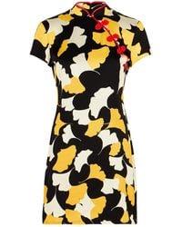 De La Vali Suki Printed Satin Mini Dress - Black