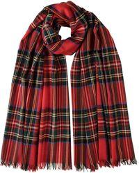 Johnstons of Elgin Royal Stewart Tartan Merino Scarf - Red
