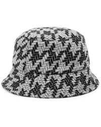 Inverni Fisherman Metallic-weave Wool-blend Bucket Hat - Black