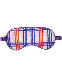 Jessica Russell Flint Periwinkle Plaid Printed Silk Eye Mask - Purple