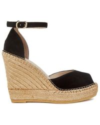 Macarena Black Suede Espadrille Wedge Sandals - Size 7