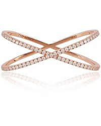 Alinka Jewellery Katia Duo Crossover Two-finger Ring Rose Gold - Multicolour