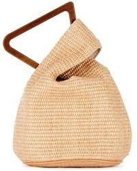 Cult Gaia Astraea Mini Sand Raffia Top Handle Bag - Natural