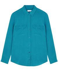Equipment Slim Signature Teal Silk Shirt - Blue