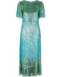 RIXO London Venus Sequinned Chiffon Midi Dress - Blue