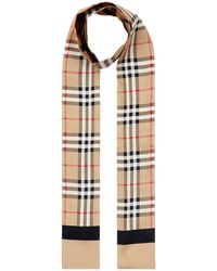 Burberry Small Reversible Printed Silk Scarf - Natural