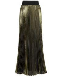 Galvan London - Olive Pleated Lurex Maxi Skirt - Lyst