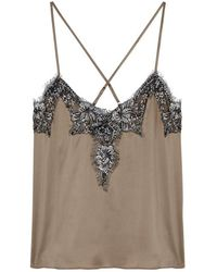 Cami NYC - The Gisele Metallic Lace-trimmed Silk-charmeuse Camisole - Lyst