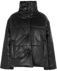Nanushka Hide Black Padded Faux Leather Jacket