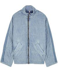Free People Blue Quilted Denim Jacket
