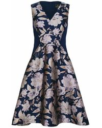 Adrianna Papell Floral Jacquard Combo Dress - Blue