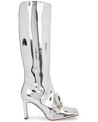 Ancuta Sarca 90 Silver Leather Knee-high Boots - Metallic