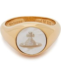 Vivienne Westwood Calypso Engraved Gold-tone Ring - Metallic