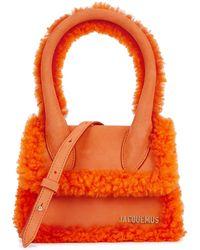 Jacquemus Le Chiquito Moyen Shearling-trimmed Top Handle Bag - Orange