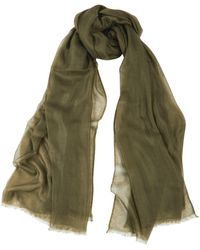 Denis Colomb Feather Toosh Green Fine-knit Cashmere Scarf