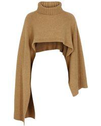 Jil Sander Camel Roll-neck Cashmere Scarf - Natural