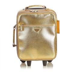Prada Gold Leather Trolley - Metallic