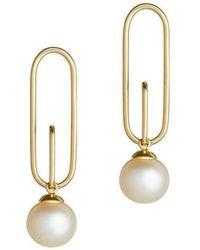 Ruifier Yg Astra Ellipse Akoya Pearl Earrings (pair) - Metallic