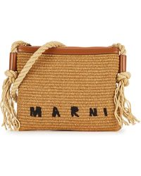 Marni Sand Raffia Cross-body Bag - Natural