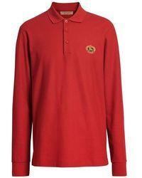 Burberry - Long-sleeve Archive Logo Cotton Pique Polo Shirt - Lyst