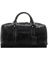 Maxwell Scott Bags Maxwell Scott Italian Leather Small Travel Bag - Fleros Black
